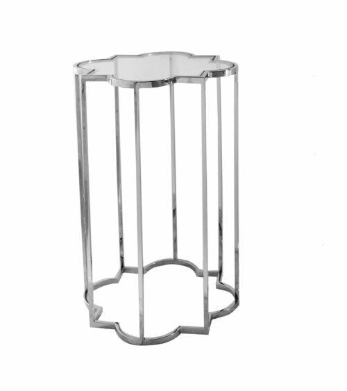 Stoliczek pomocniczy nowoczesny srebrny szklany blat Delmar