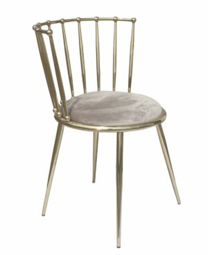 Krzesło nowoczesne tapicerowane metalowy stelaż w stylu Glamour Celano złoty/brązowy 52/55/73 cm