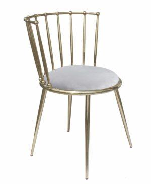Krzesło nowoczesne tapicerowane metalowy stelaż w stylu Glamour Celano złoty/szary 52/55/73 cm