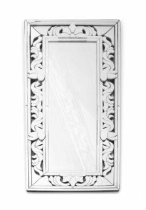 Lustro prostokątne nowoczesne w lustrzanej zdobionej ramie Claris 80/160 cm
