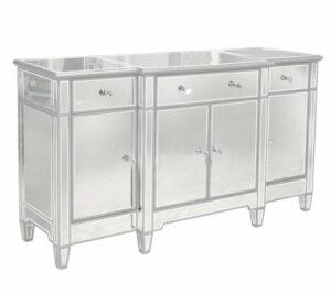 Komoda nowoczesna lustrzana srebrne dekory Garda 50/88/160 cm