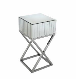 Szafka nocna nowoczesna lustrzana z chromowanymi srebrnymi nogami 40/40/78 cm