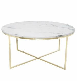 Stolik kawowy okrągły nowoczesny stal nierdzewna blat marmur Pelio Złoty/Biały 42/90/90 cm