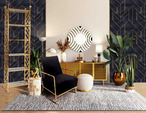 fotel florene w kolorze czarnym w gotowej aranżacji