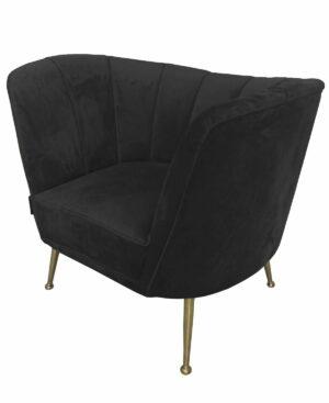 Fotel tapicerowany nowoczesny welurowy czarny Aveiro 77/80/101 cm