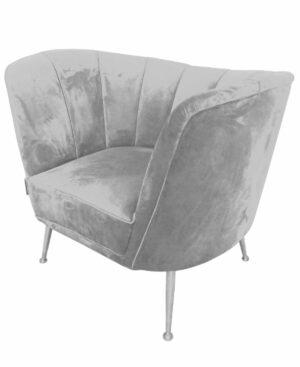Fotel tapicerowany nowoczesny welurowy szary Aveiro 77/80/101 cm