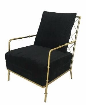 Fotel nowoczesny tapicerowany czarny welur w złotej chromowanej ramie Florene 66/71/85 cm