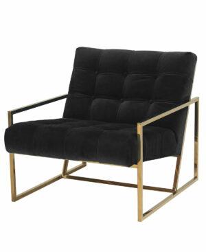 Fotel nowoczesny tapicerowany pikowany w złotej chromowanej ramie Mahora 70/71/81 cm