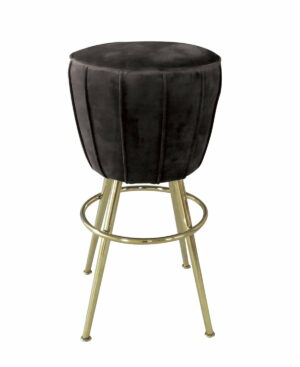 Krzesło stołek barowy nowoczesny złote nogi czarny welur Sketch 46/46/73 cm