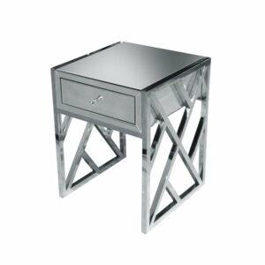Szafka nocna nowoczesna lustrzana na metalowych nogach srebrna Taranto 50/65/65 cm