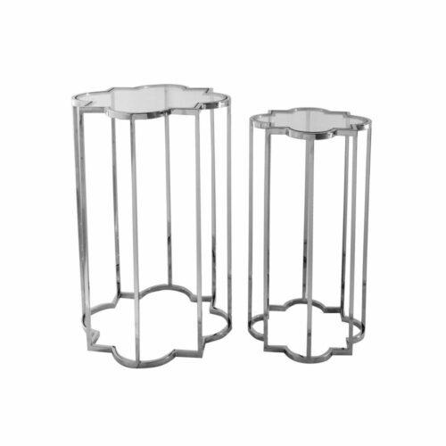 Stoliczek pomocniczy nowoczesny srebrny szklany blat Delmar 30/30/55 cm
