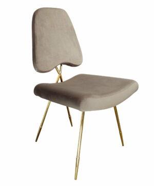 Krzesło tapicerowane nowoczesne metalowe nogi Salvadore Jasno brązowe 50/58/93 cm