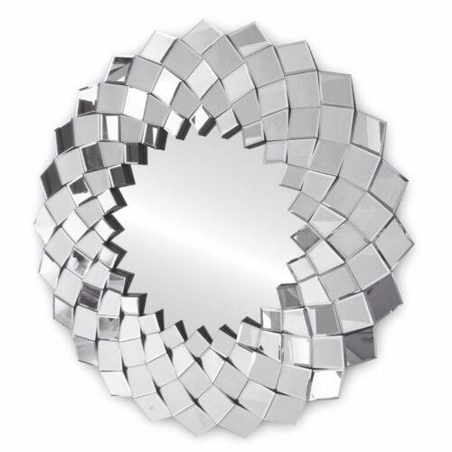 Lustro okrągłe nowoczesne w lustrzanej ramie w stylu Glamour Sandra 91 cm