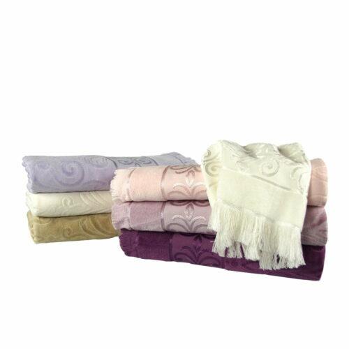 Ręcznik żakardowy strzępiony komplet ręczników