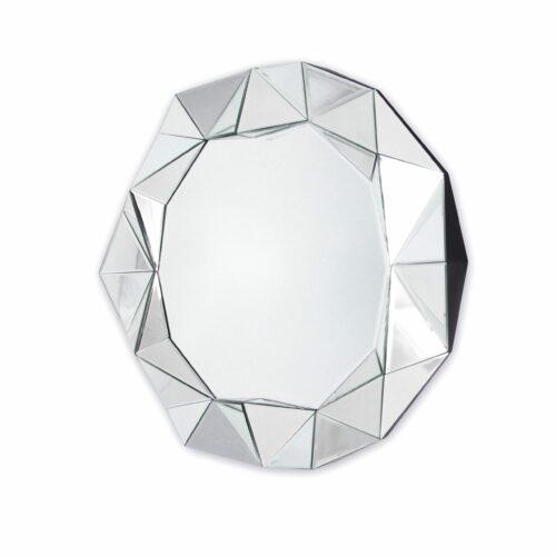 Lustro okrągłe nowoczesne w przestrzenej ramie z luster Blanka 80 cm