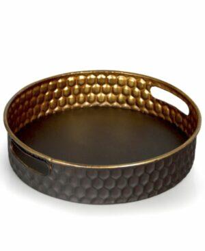 Półmisek dekoracyjny okrągły metaloplastyka - taca ∅ 35 cm