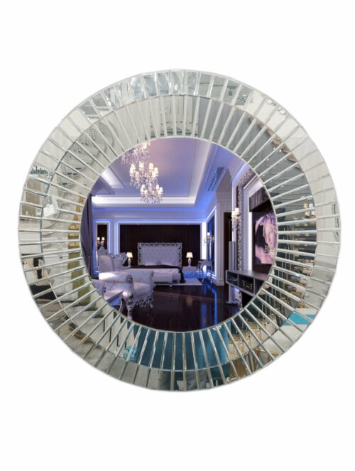 Okrągłe lustro wiszące dekoracyjne z szeroką lustrzaną ramą
