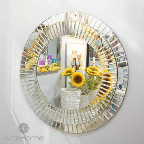 Lustro nowoczesne okrągłe w lustrzanej ramie Kleo