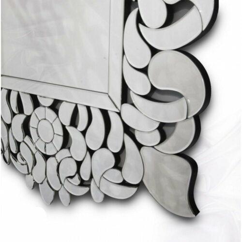 Lustro prostokątne nowoczesne w dekoracyjnej lustrzanej ramie Eurydyka 80/120 cm