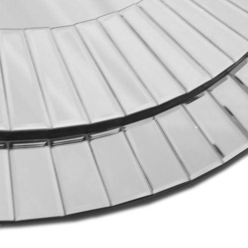 Lustro nowoczesne okrągłe w lustrzanej ramie Kleo detal