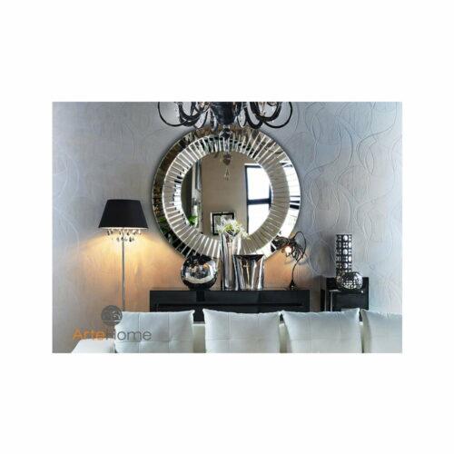 Lustro nowoczesne okrągłe w lustrzanej ramie Kleo aranżacja salonu