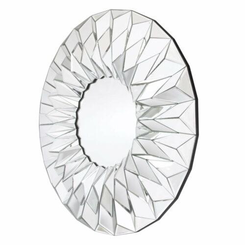 Lustro okrągłe nowoczesne w trójwymiarowej lustrzanej ramie Hecate 100 cm