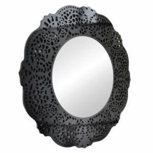 Lustro okrągłe nowoczesne w czarnej ażurowej ramie Orsini 110 cm