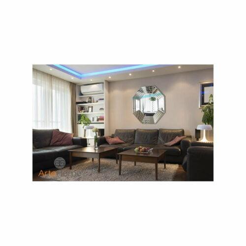 Fantuzzi- okrągłe, nowoczesne lustro dekoracyjne aranżacja w salonie