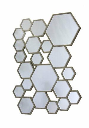 Lustro prostokątne nowoczesne w kształcie plastra miodu Coletti 60/80 cm