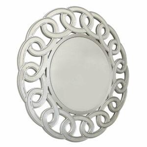 Lustro okrągłe nowoczesne w zdobionej lustrzanej ramie Avola 100 cm