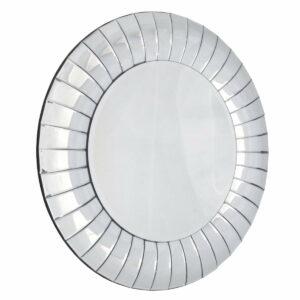 Lustro okrągłe nowoczesne w dekoracyjnej lustrzanej ramie Corrao 80 cm