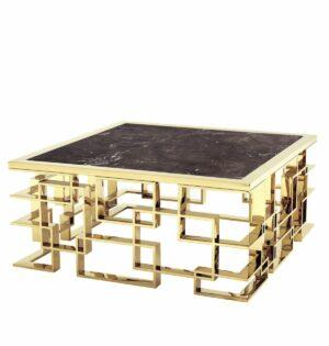 Stolik kawowy nowoczesny chromowany złoty ze szklanym czarnym blatem Cluso 45/100/100 cm