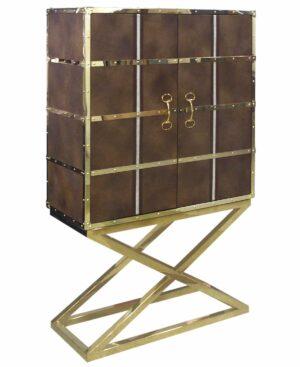 Regał barek nowoczesny chromowane złote nogi złote okucia Smythson 48/108/180 cm