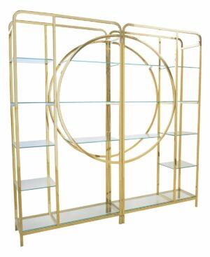 Regał nowoczesny chromowany złoty ze szklanymi półkami Blahnik 40/240/240 cm