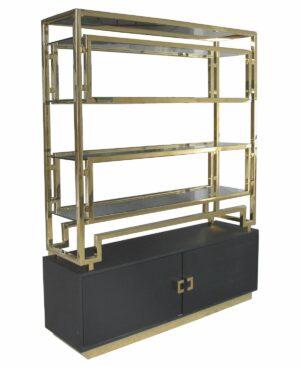 Regał nowoczesny chromowany złoty ze szklanymi półkami Murano 41/148/191 cm