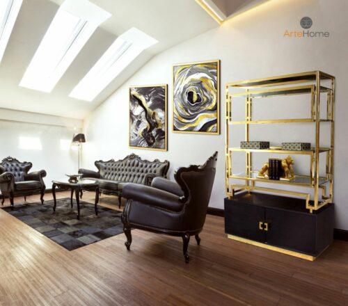 Regał na książki złoty Murano Obraz w złotej ramie Wind i Agate aranżacja salonu