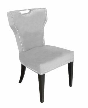 Krzesło nowoczesne tapicerowane szary welur z uchwytem Vittdria 58/65/95 cm