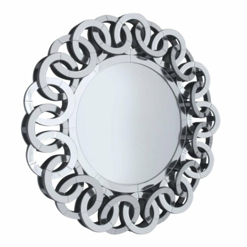 Lustro okrągłe nowoczesne w lustrzanej bogato zdobionej ramie Carla 90 cm