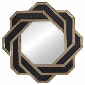 Lustro okrągłe nowoczesne dekoracyjne w lustrzane ramie Silvia Ciemne Złoto 80 cm