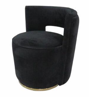 Czarna welurowa okrągła pufa do toaletki z oparciem na złotej platformie