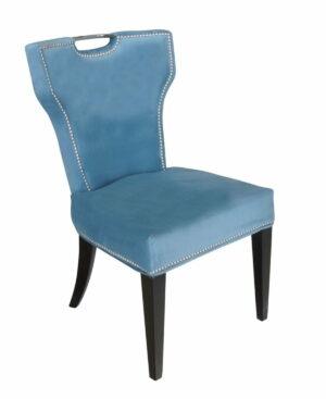 Krzesło nowoczesne tapicerowane niebieski welur z uchwytem Vittdria 58/65/95 cm
