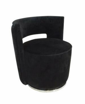Fotel nowoczesny tapicerowany czarny welur metalowa podstawa Swan 58/65/69 cm