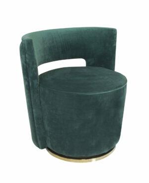 Fotel nowoczesny tapicerowany zielony welur metalowa podstawa Swan 58/65/69 cm