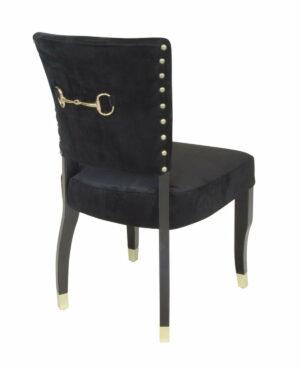 Krzesło nowoczesne tapicerowane czarny welur złote wykończenia Megan 52/63/88 cm