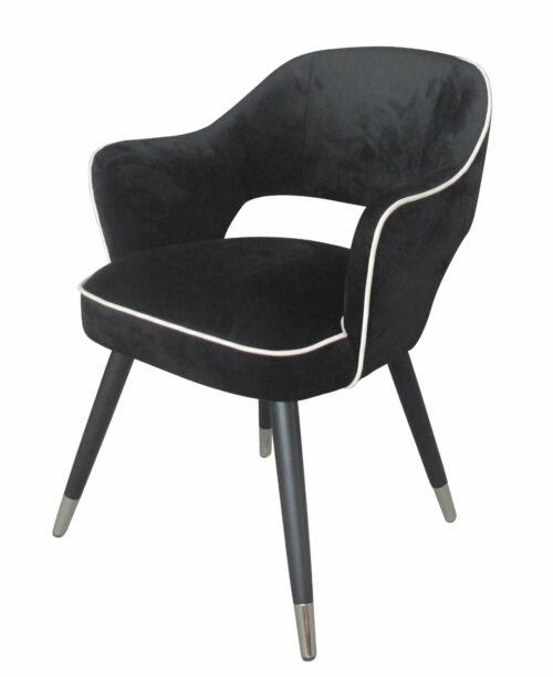 Krzesło nowoczesne tapicerowane czarny welur z białą lamówką Nizza 61/62/80 cm