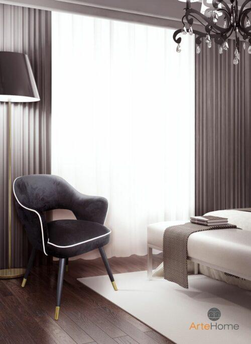 Krzesło Nizza w czarnej tapicerce aranżacja sypialni