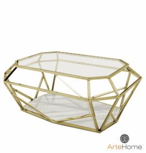 Stolik kawowy nowoczesny metalowy złoty szklany blat Emerald 41/41/70 cm