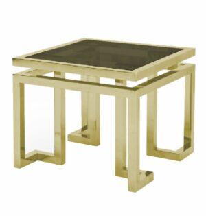 Stoliczek pomocniczy nowoczesny chromowany złoty ze szklanym blatem Florian 55/55/65 cm