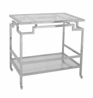 Barek nowoczesny chromowany srebrny na kółkach ze szklanymi półkami Page 47/72/72 cm