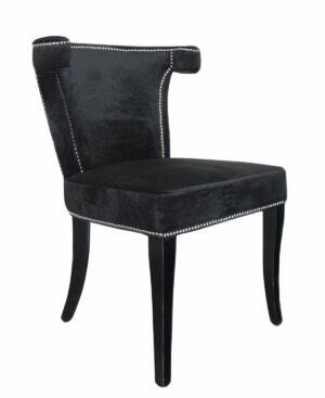 Krzesło nowoczesne tapicerowane ze srebrną pineska czarny welur Earls Court 56/51/84 cm